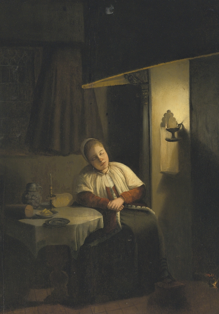 Woman dozing near a hearth