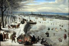 Zicht op Antwerpen met de bevroren Schelde