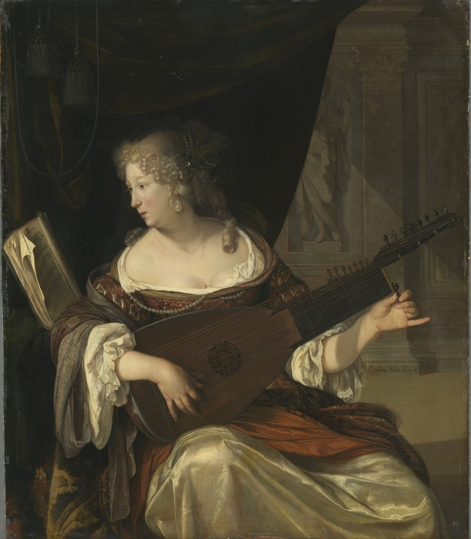 A Lady Tuning a Theorbo