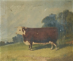 A Prize Bull in a Wooded River Landscape