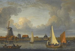 A river landscape with fishermen in rowing boats, windmills beyond