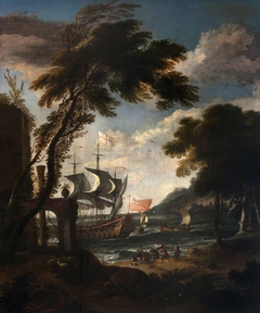 A Seaport with Men-o'-War, Boats and Figures