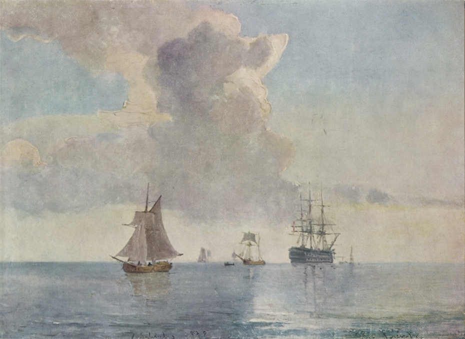 A ship of the line anchored and surrounded by smaller vessels