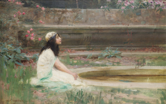 A Young Girl by a Pool