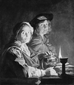 An Old Woman and a Youth by Lamplight