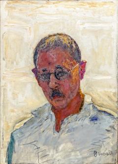 Autoportrait sur fond blanc, chemise col ouvert