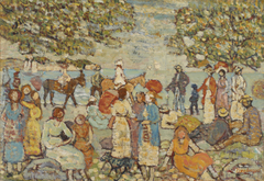 Beach Scene with Donkeys (or Mules)