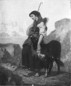 Bergère avec un chien dans les Alpes