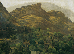 Blick zur Bergstadt Mola bei Taormina