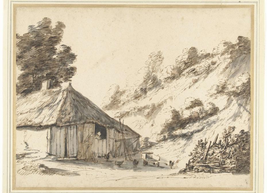 Boerderij bij een zandheuvel