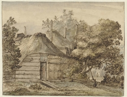 Boerderij en een hooiberg tussen bomen