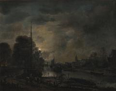 Boten op een rivier bij maanlicht