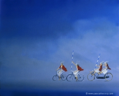 CHEVAUCHEE DE QUATRE WALKYRIES - ride of 4 valkyries - Oil on canvas by Pascal