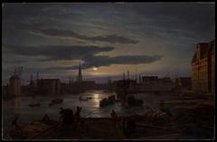 Copenhagen Harbor by Moonlight
