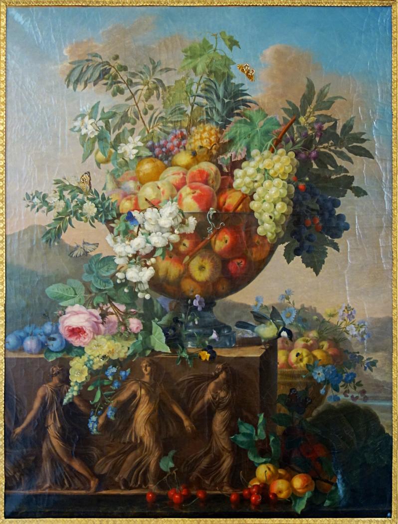 Coupe de fleurs et de fruits