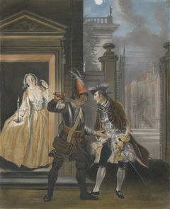 De omkopingsscène uit het tweede bedrijf van het blijspel 'Hopman Ulrich of de bedrogen gierigheid' van Johan van Paffenrode (1661).