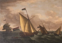 Dutch Ships in Choppy Seas