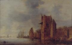 Een stadsmuur met twee torens aan een rivier