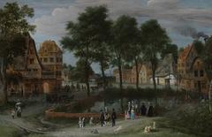 Ein Dorfplatz mit städtischen Besuchern