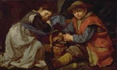 En pige og en dreng, der varmer sig ved et kulbækken