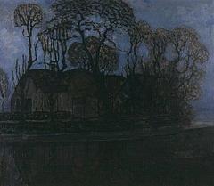 Farm in Duivendrecht at evening