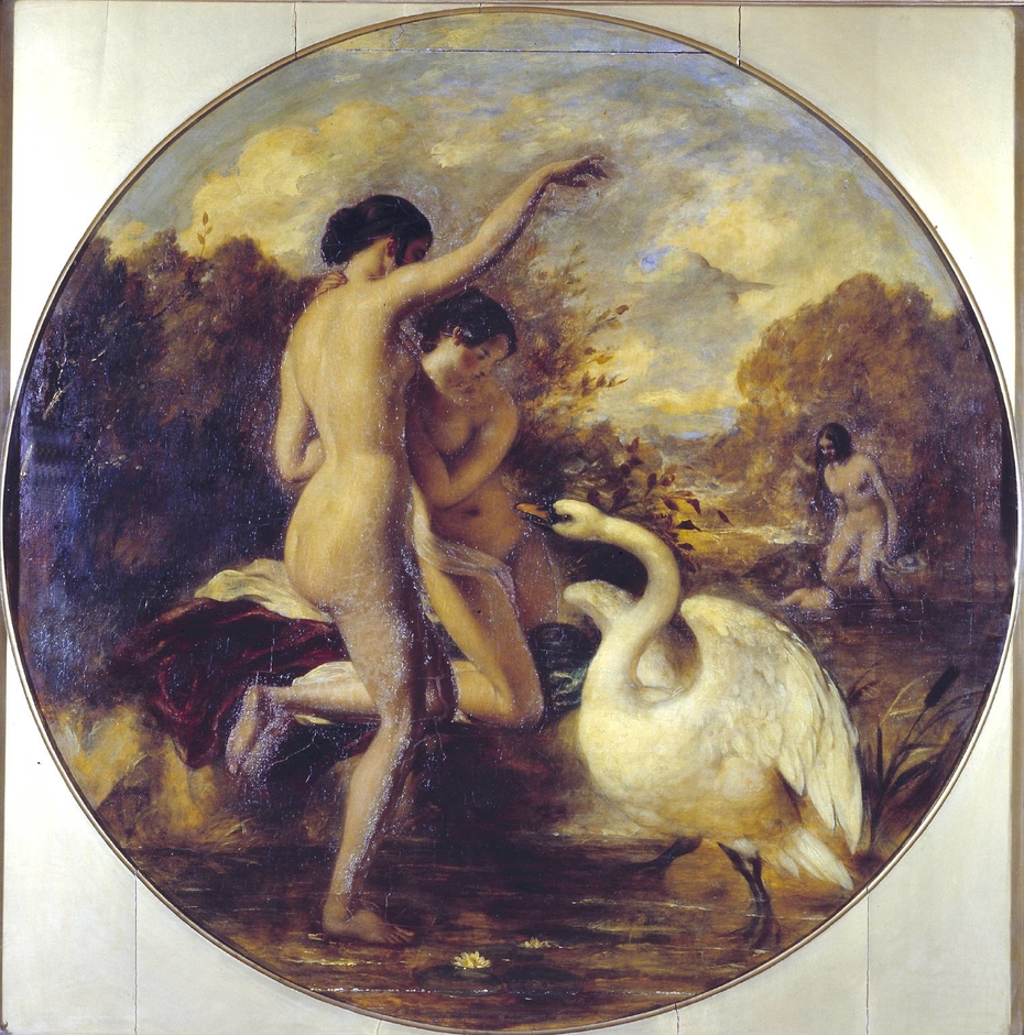Female Bathers Surprised by a Swan. Verso: Terpsichore (?) with Putti