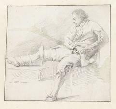 Figuurstudie van een zittende man, naar links