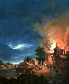 Fire of the town during the summer.
