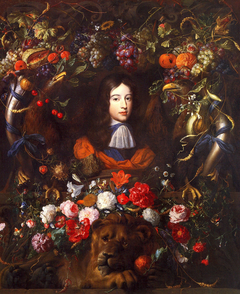 Flower garland with portrait of William III of Orange, aged 10