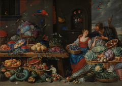 Fruit and Vegetable Market with a Young Fruit Seller