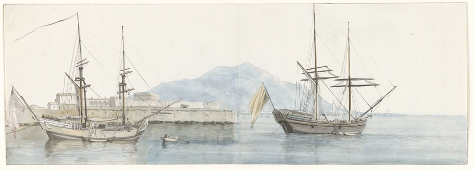 Gezicht op de kleine haven van Palermo