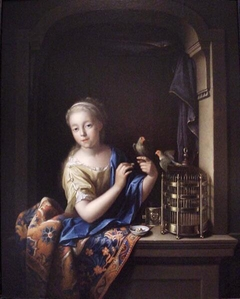 Girl with a Birdcage in a Window
