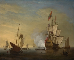 Harbor Scene: An English Ship with Sails Loosened Firing a Gun