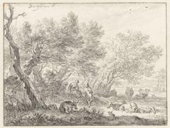 Herders en vee bij een groep bomen
