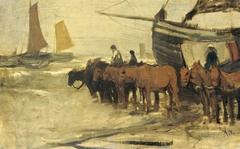 Het in zee brengen van een visserspink