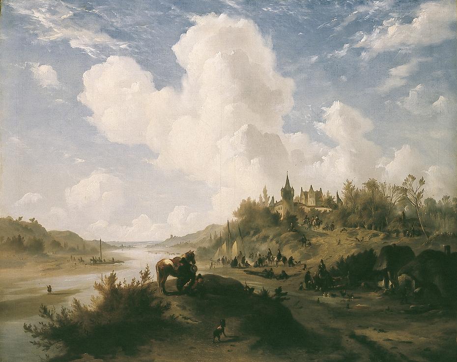 Heuvellandschap met kasteel en figuren