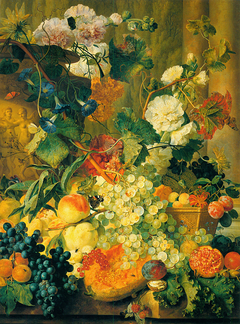 Hollyhocks and Fruit by Two Columns