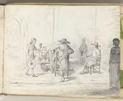 Interieur van een logement op Ceylon of aan de Kaap de Goede Hoop