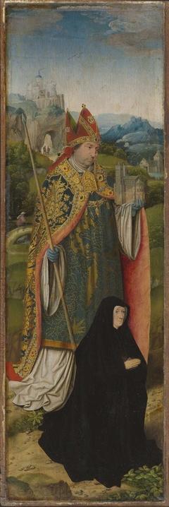 Kreuzigungsaltar: Hl. Bischof (Lambertus von Lüttich?) mit Stifterin