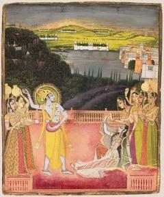 Krishna Celebrates Holi with Radha and the Gopis