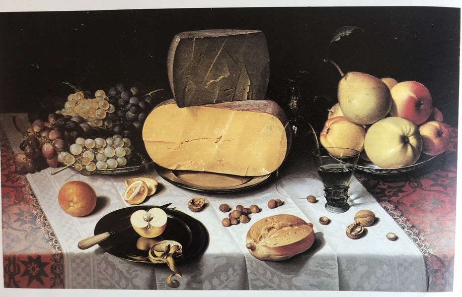 Laid Table with Cheese, Fruit and a Berkemeyer