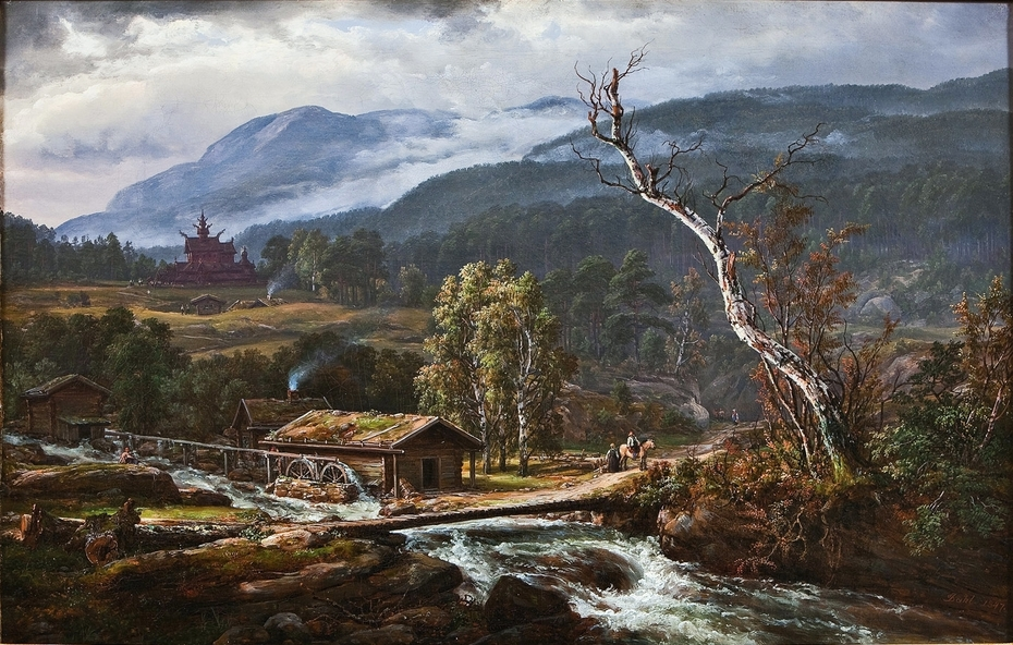 Landscape in Kaupanger with a Stave Church