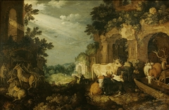 Landscape with ruins, cattle and deer