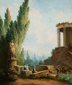Landscape with the ruins of the Temple of the Sibyl at Tivoli.