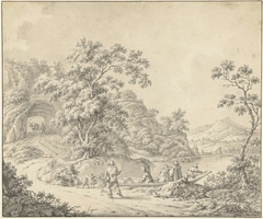 Landschap met een schuitje waarin een schapenherder met zijn kudde