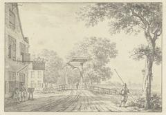 Landschap met ophaalbrug en personen voor een herberg