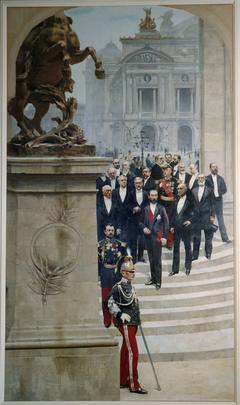 Le Président Sadi Carnot entouré de personnalités de la IIIème République, devant l'Opéra