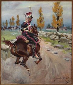 Light cavalryman on reconnaissance