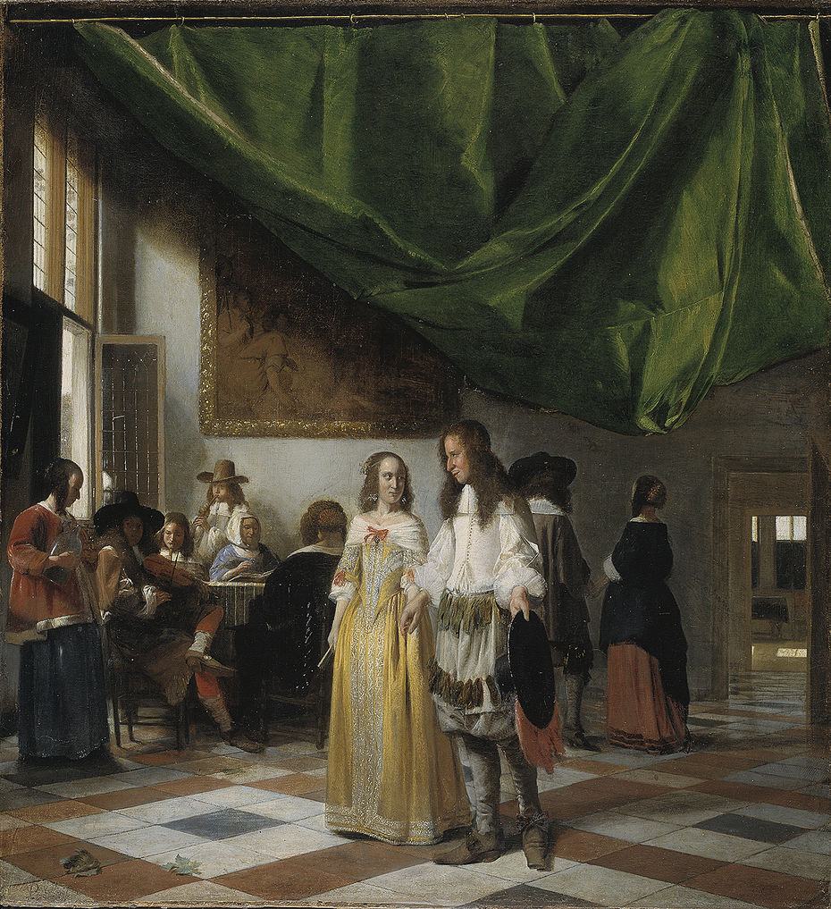 Interior with a Young Couple and People Making Music