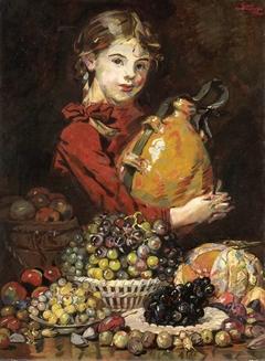 Monarosa, dochter van de schilder, als fruitverkoopster